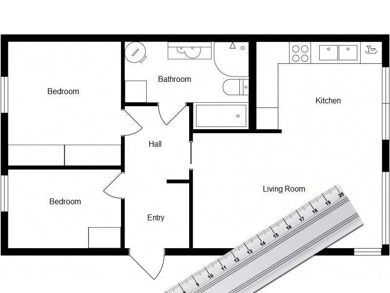 Drawn bedroom sketch plan RoomSketcher Floor Plan RoomSketcher Measuring