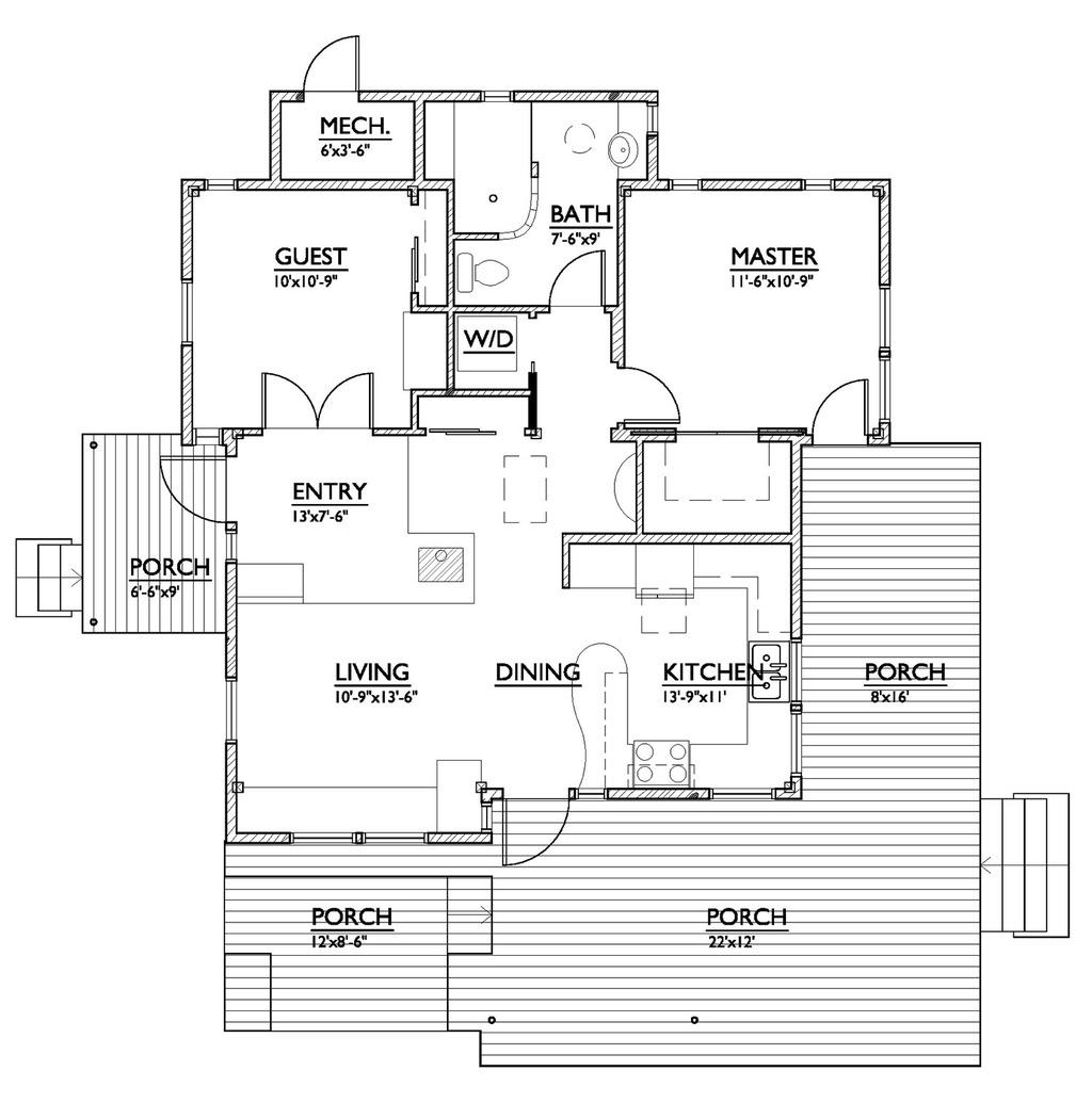 Drawn office plans modern 1 2 House Sq/Ft Modern