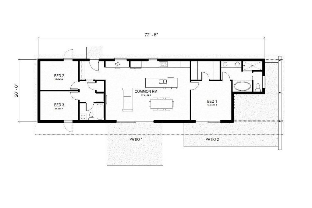 Drawn office plans modern 57 3 House Sq/Ft Modern