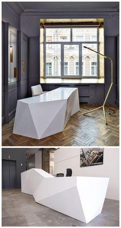 Drawn office reception area 1186 desk design modern x