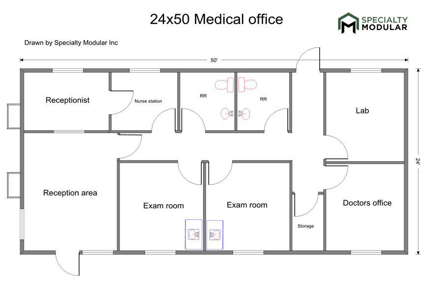 Drawn office reception area Prefab Floor Buildings Plans Modular