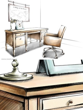Drawn office reception area Free  Reception layered desk