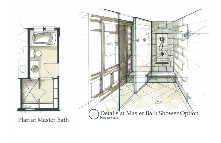 Drawn office rendered Rendering shower Interiors Hand steam