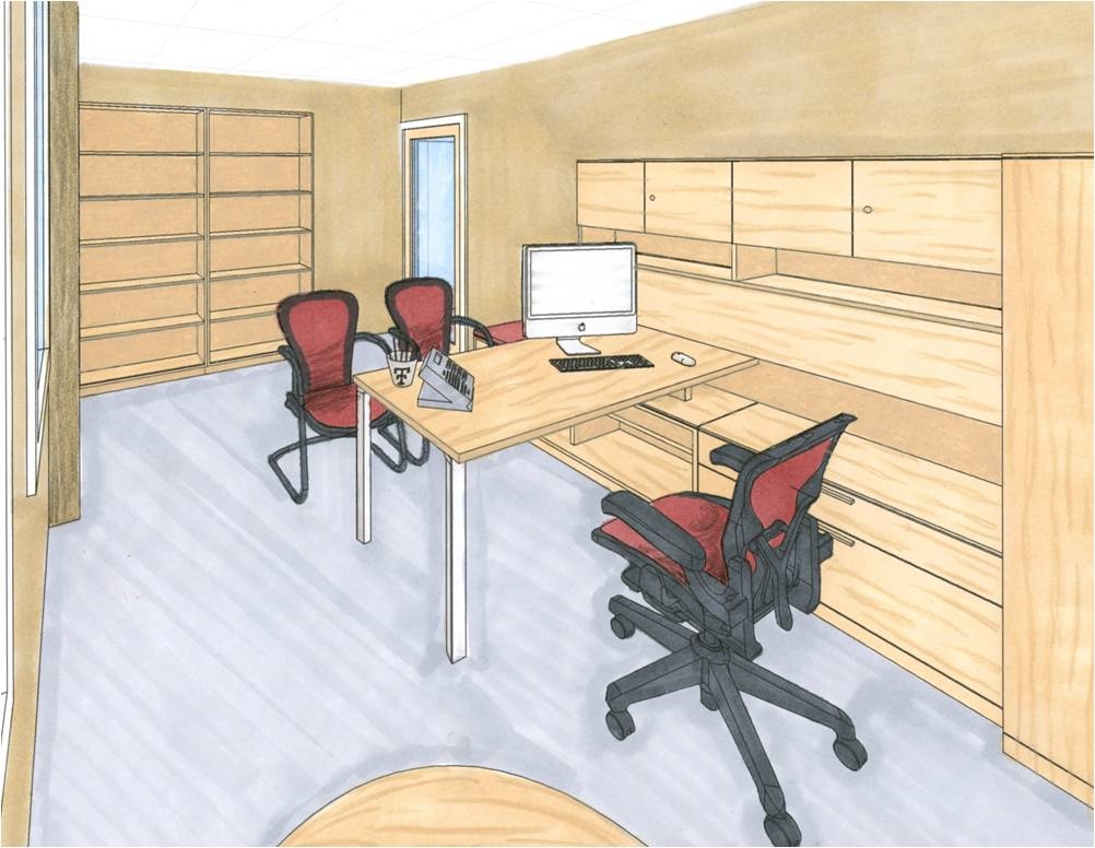 Drawn office rendered Redesign: Rendered Prismacolor of of