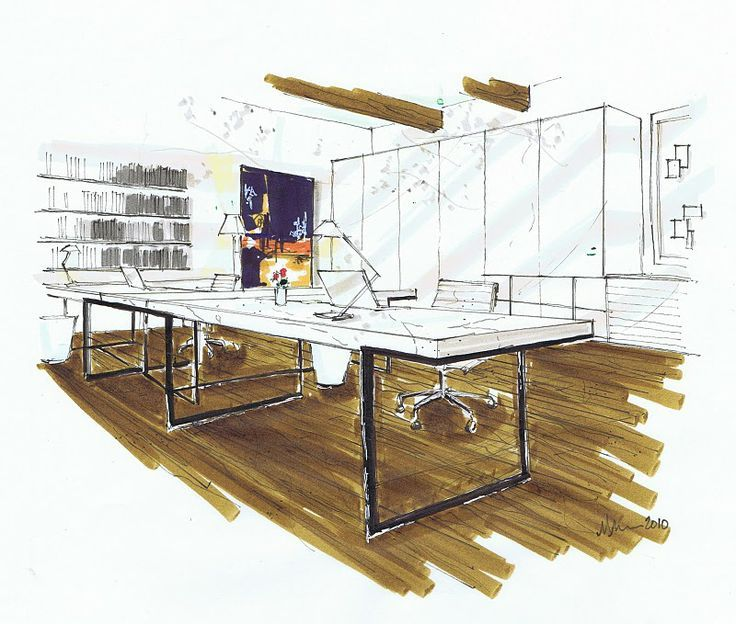 Drawn office rendered Best Sketches images Pinterest Examples