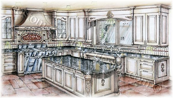 Drawn office rendered Art Kitchen Kitchen Perspective Cabinetry