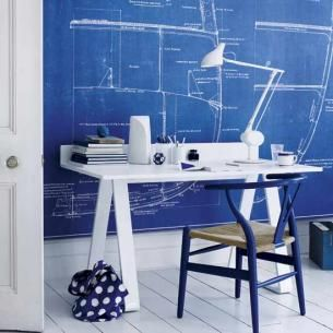 Drawn office room design Everything IdeasHome wall blue on