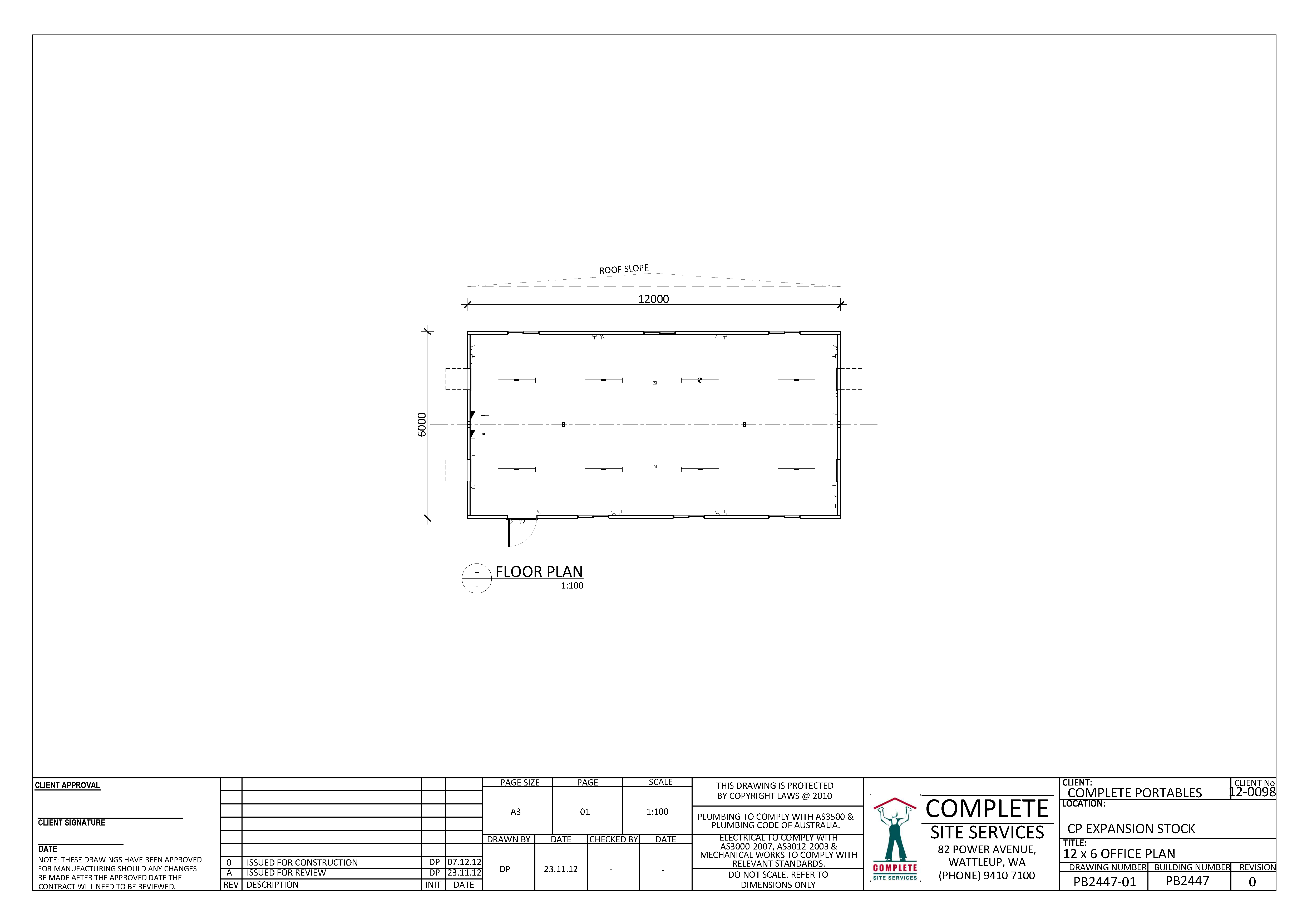 Drawn office site office 12 6 x 0m Construction