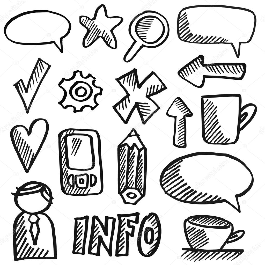 Drawn office site office Icons  drawn isolated Set
