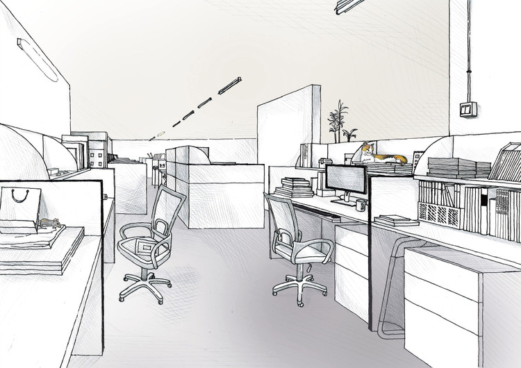 Drawn office isometric Diagrams Desks  of Drawings