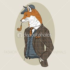 Drawn office suit In fashion wolf Hand of