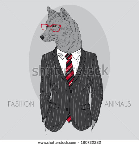 Drawn office suit In fashion in Hand of