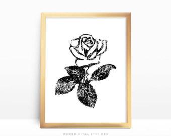 Drawn office sweet Flower Office White Black Print