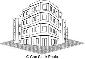 Drawn office tenement Building estate Vector  building