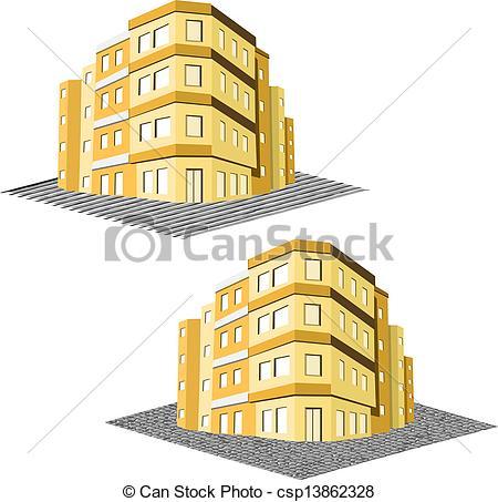 Drawn office tenement Building estate Vector Illustration modern