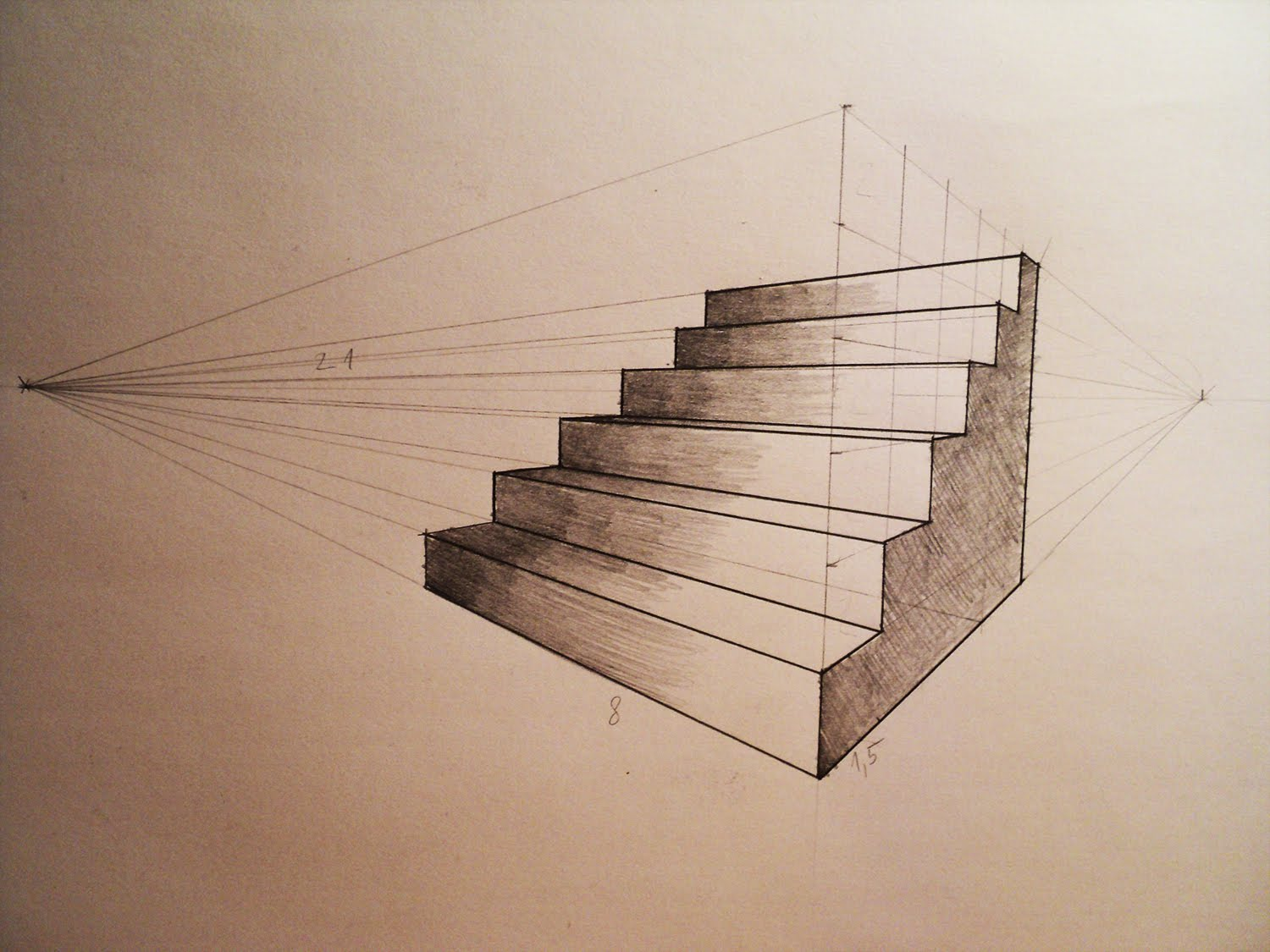 Drawn office two point Perspective  YouTube stairs to