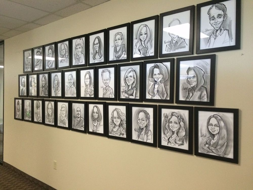 Drawn office wall Staff and their after of