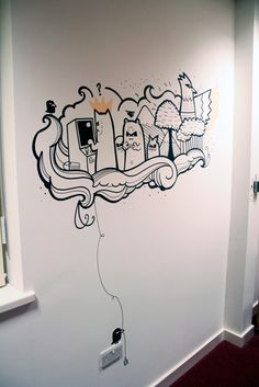 Drawn office wall Cool Pin on 21 mural