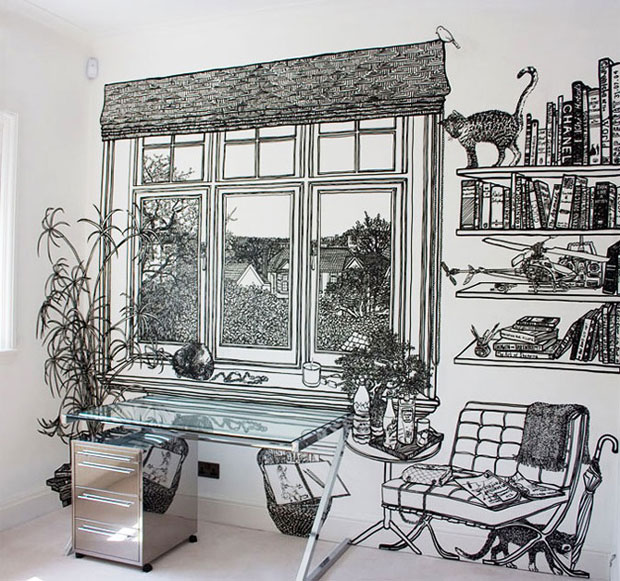 Drawn office wall Office an cat drawing room's
