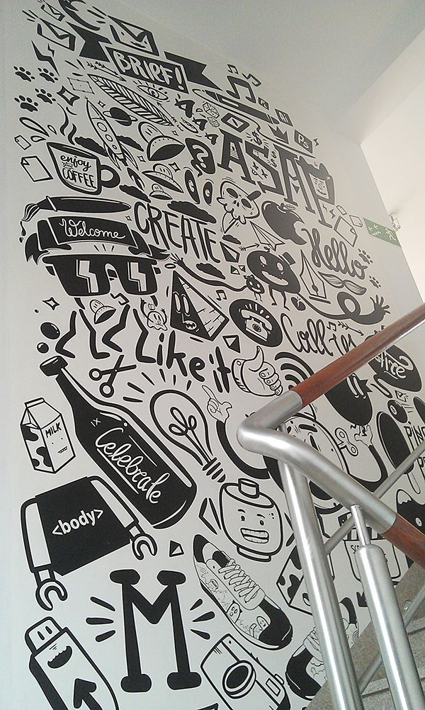 Drawn office wall On Pinterest Wall drawing 20+