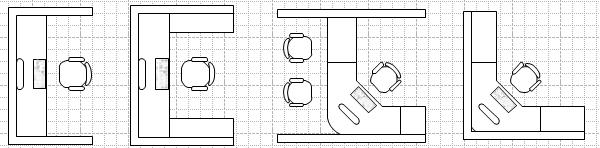 Drawn office workstation Workstation Office Symbols Layout