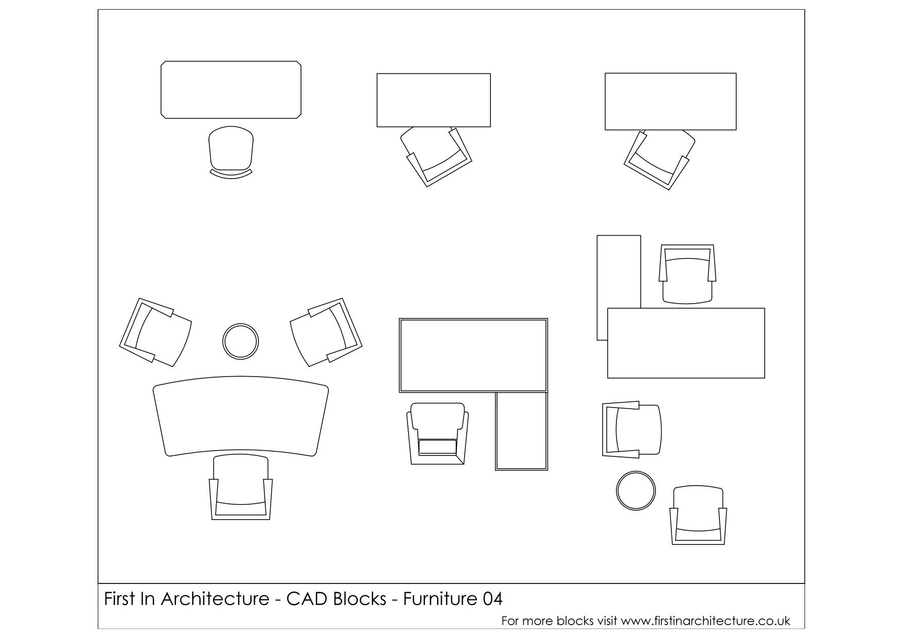 Drawn office workstation Blocks First Architecture Furniture Desks)