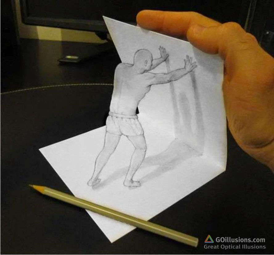 Drawn optical illusion 3d brain Teasers the of perspective and