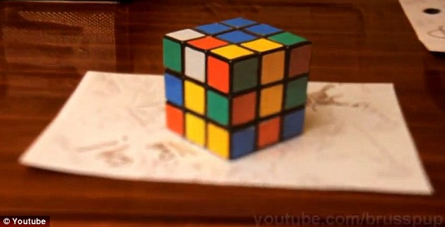 Drawn optical illusion 3d brain Is but Cube? Rubiks Rubiks
