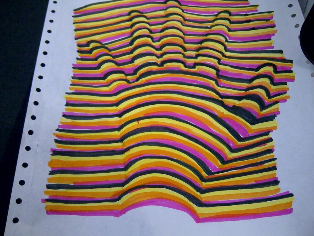 Drawn optical illusion 3d brain  3D Artworld! Hand Optical