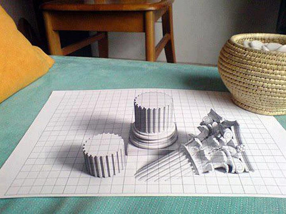 Drawn optical illusion 3d brain Mighty 30 Drawing 3D Teasers
