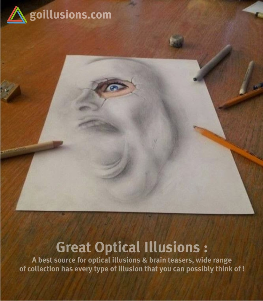 Drawn optical illusion 3d brain Funny Illusions Optical Scary Teasers