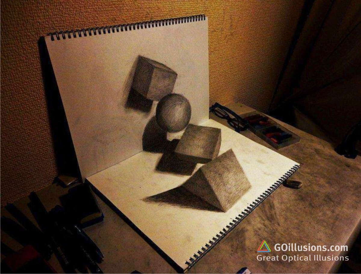 Drawn optical illusion 3d brain Photos Funny Illusion Objects