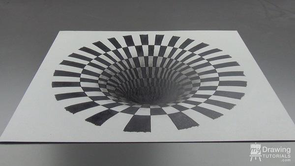 Drawn optical illusion 1 Drawing Hole Illusion Tutorials