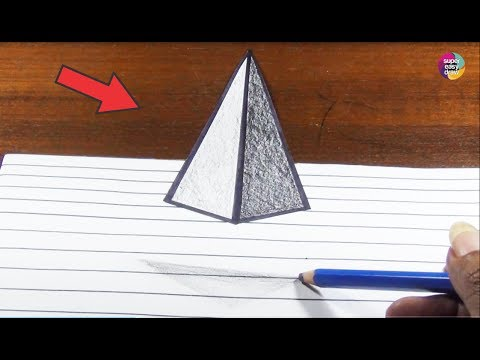 Drawn pyramid optical illusion Draw 3D Pyramid 3D How