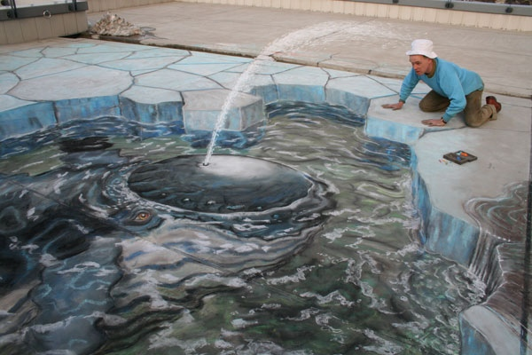 Drawn optical illusion accident 3D be Trick Your Chalk