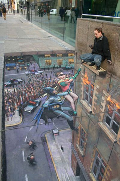 Drawn optical illusion accident 3D Chalk Pictures Batman Drawing