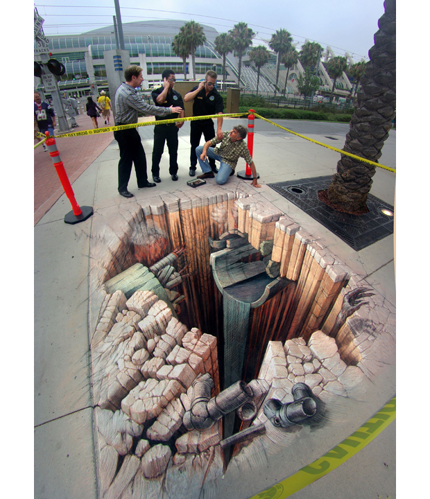Drawn optical illusion accident Wenner of Pavement Renaissance: