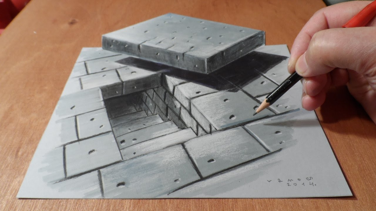 Drawn 3d art illusion Stairs Tunnel 3D  How