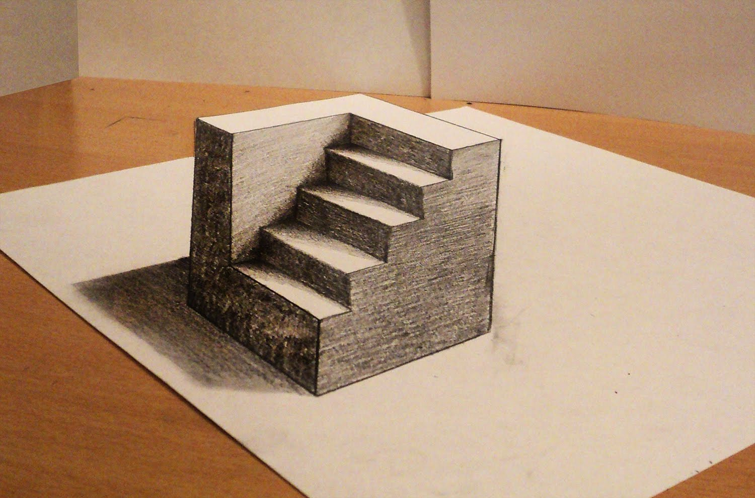 Drawn optical illusion anamorphic 3d cube  draw How