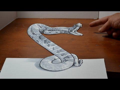 Drawn optical illusion anamorphic Rattlesnake Cool 3D Drawing Rattlesnake