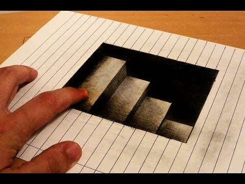Drawn optical illusion anamorphic 3d stairs  draw How
