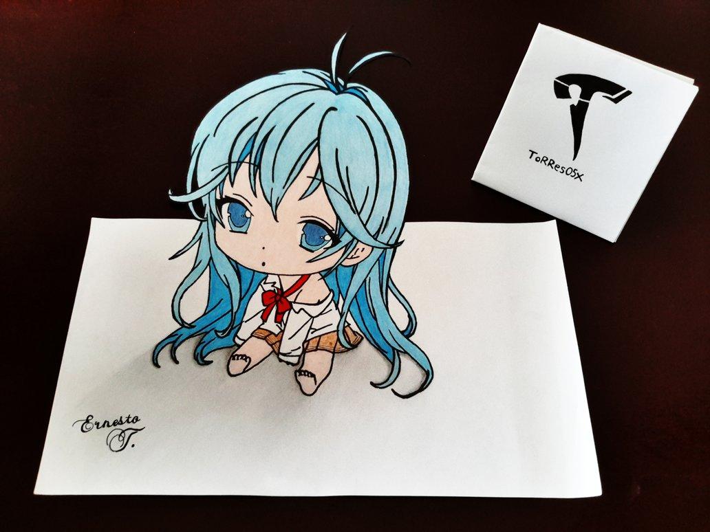 Drawn optical illusion anime Chibi Erio 3D Touwa ToRRes05x