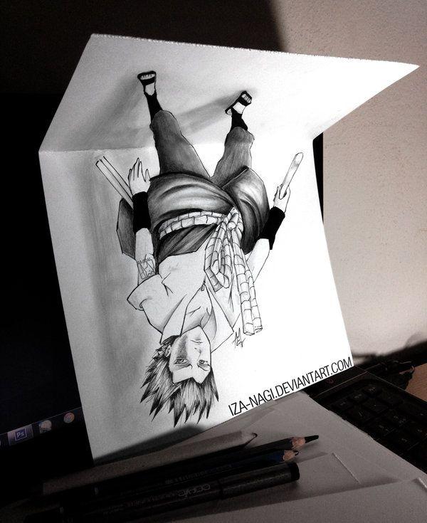 Drawn optical illusion anime Nagi by Drawing Iza Dibujos