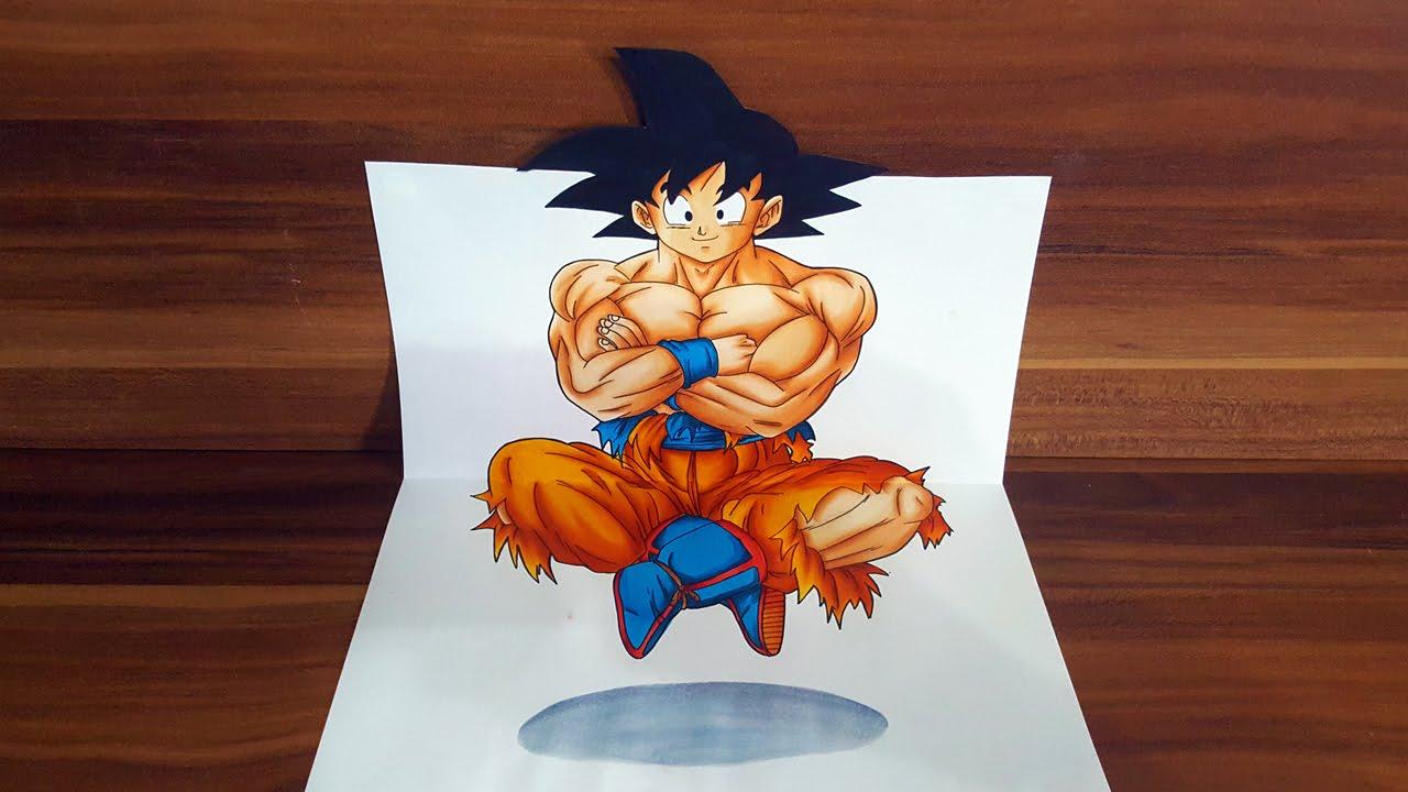 Drawn optical illusion anime Dragonball floating Illusion Illusion Goku