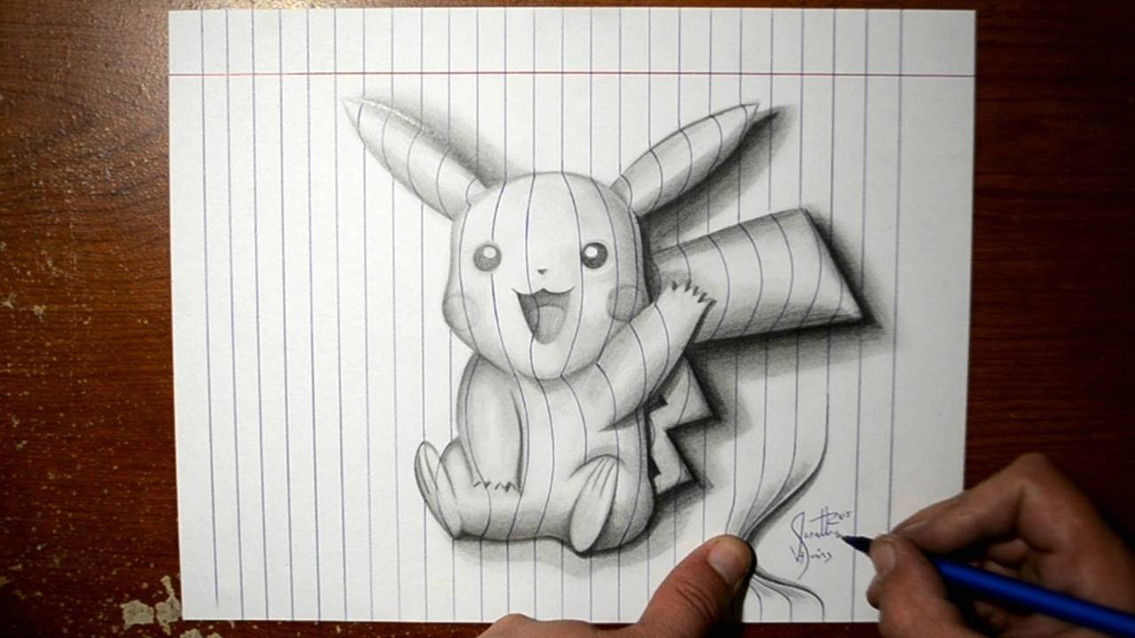 Drawn paper artwork YouTube Trick 3D Line Pikachu