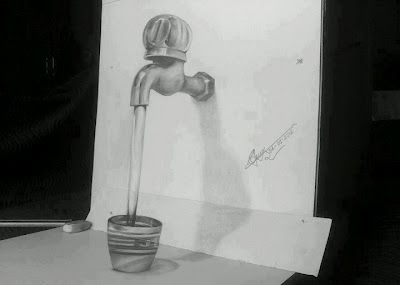 Drawn optical illusion artistic Tap and Water Water