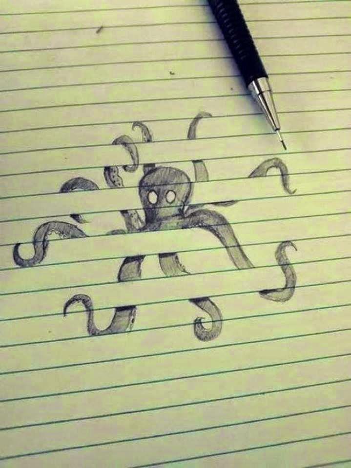 Drawn paper 3d illusion Optical illusions INVENTORS: illusion Drawing