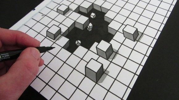 Drawn optical illusion awesome Illusion COOL Cube Optical Drawing