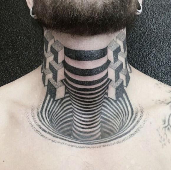 Drawn optical illusion badass Com/ moillusions Creepy Tattoo Illusion