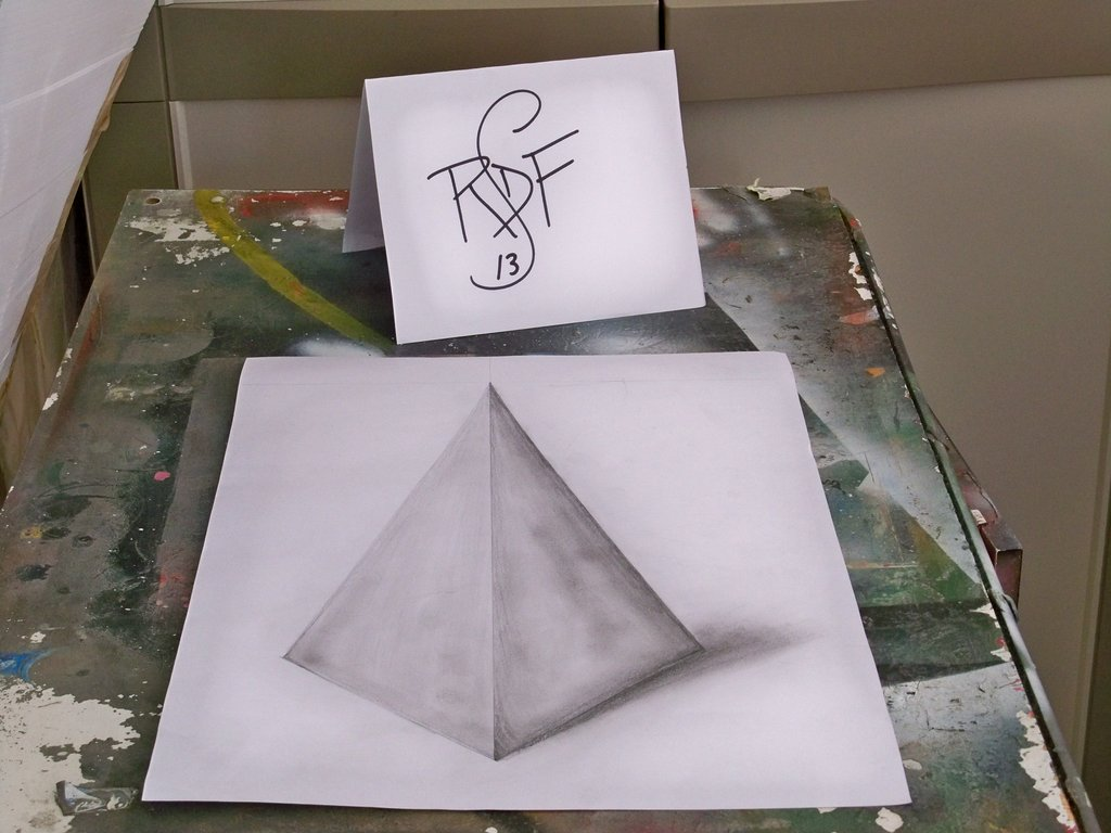 Drawn pyramid optical illusion By roccodelfranco 3D illusion 3D